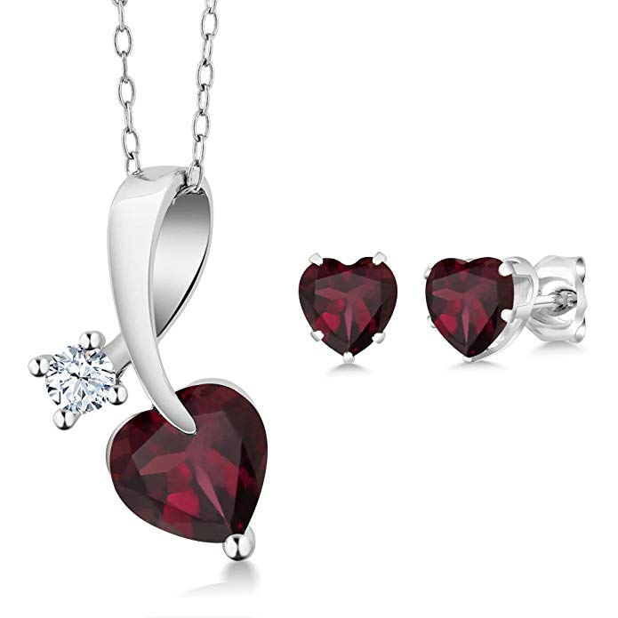 2.71 Ct Heart Shape Red Rhodolite Garnet 925 Sterling Silver Pendant Earrings Set