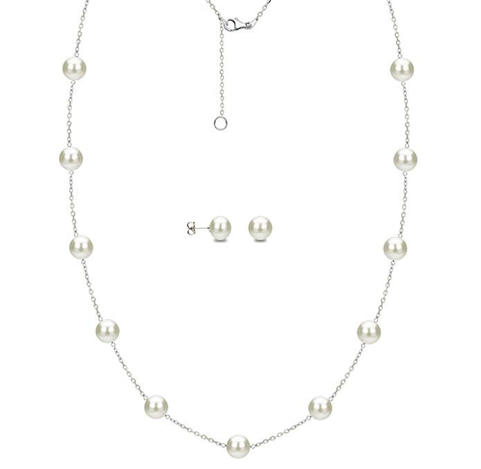 Sterling Silver 6-6.5mm White Freshwater Cultured Pearl Chain Necklace and Stud Earrings Set
