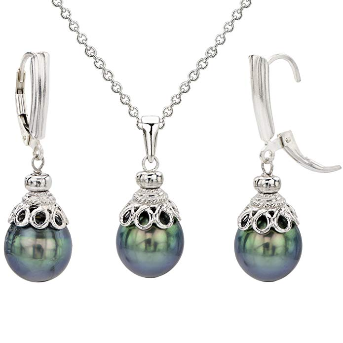 La Regis Jewelry Sterling Silver 10-10.5mm Cultured Pearl Pendant Chain Necklace and Lever-back Earrings Set